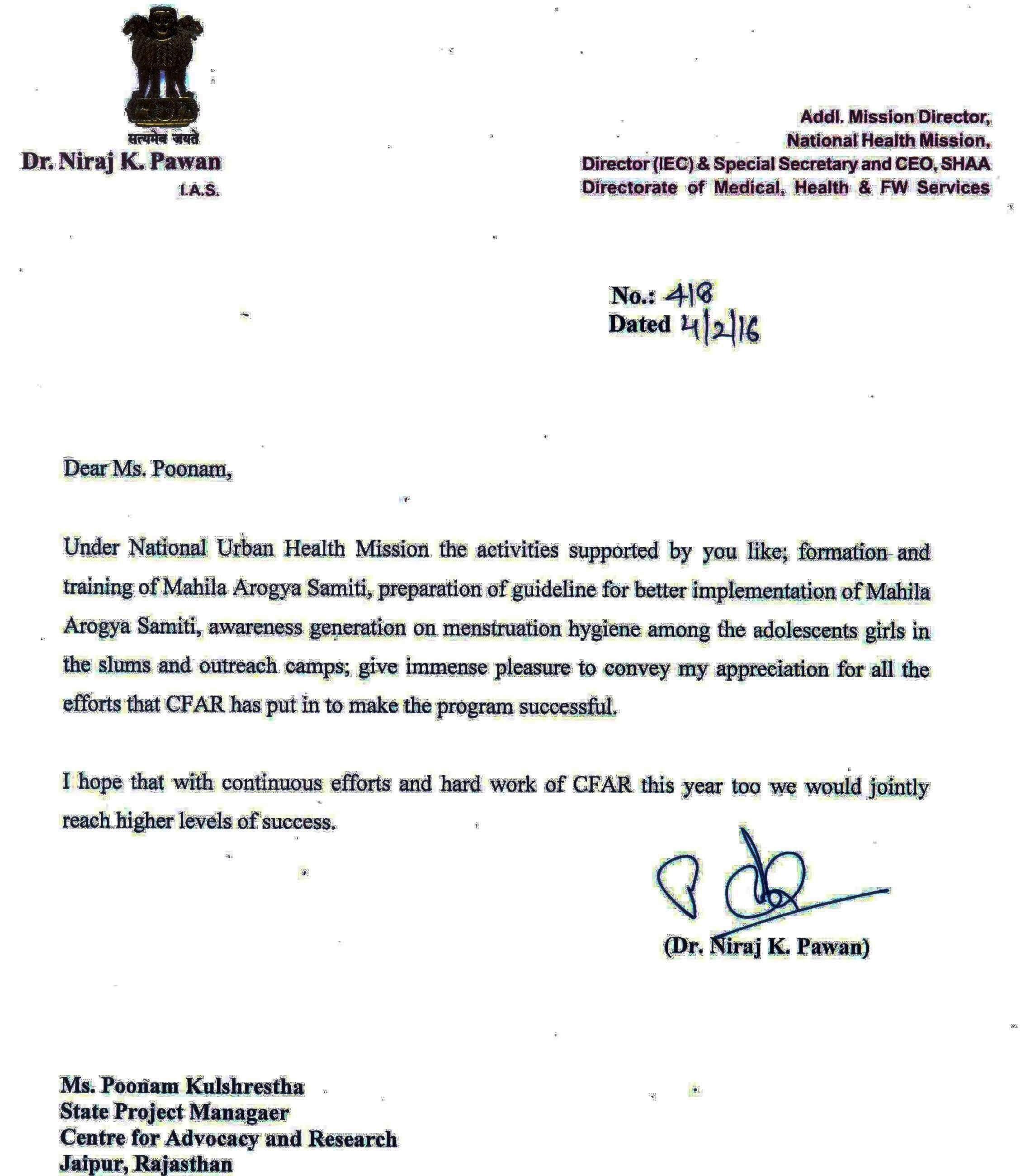 On February 4, 2016 CFAR received Letter of Appreciation from National Health Mission, Rajasthan for forming and training Mahila Arogya Samiti (Women's Health Committees) and for raising awareness on Menstrual Hygiene management among adolescent girls in slums.
