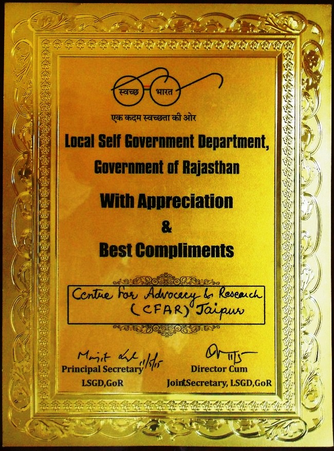 On May 11, 2015, CFAR received Letter of Appreciation from Local Self Government Department, Rajasthan
