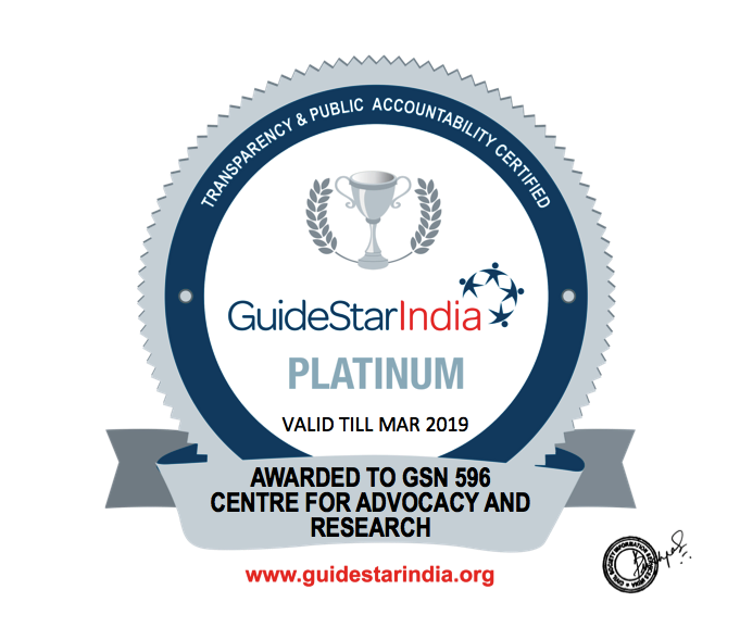 In 2018, CFAR received Platinum Cetrificate from GuideStar India