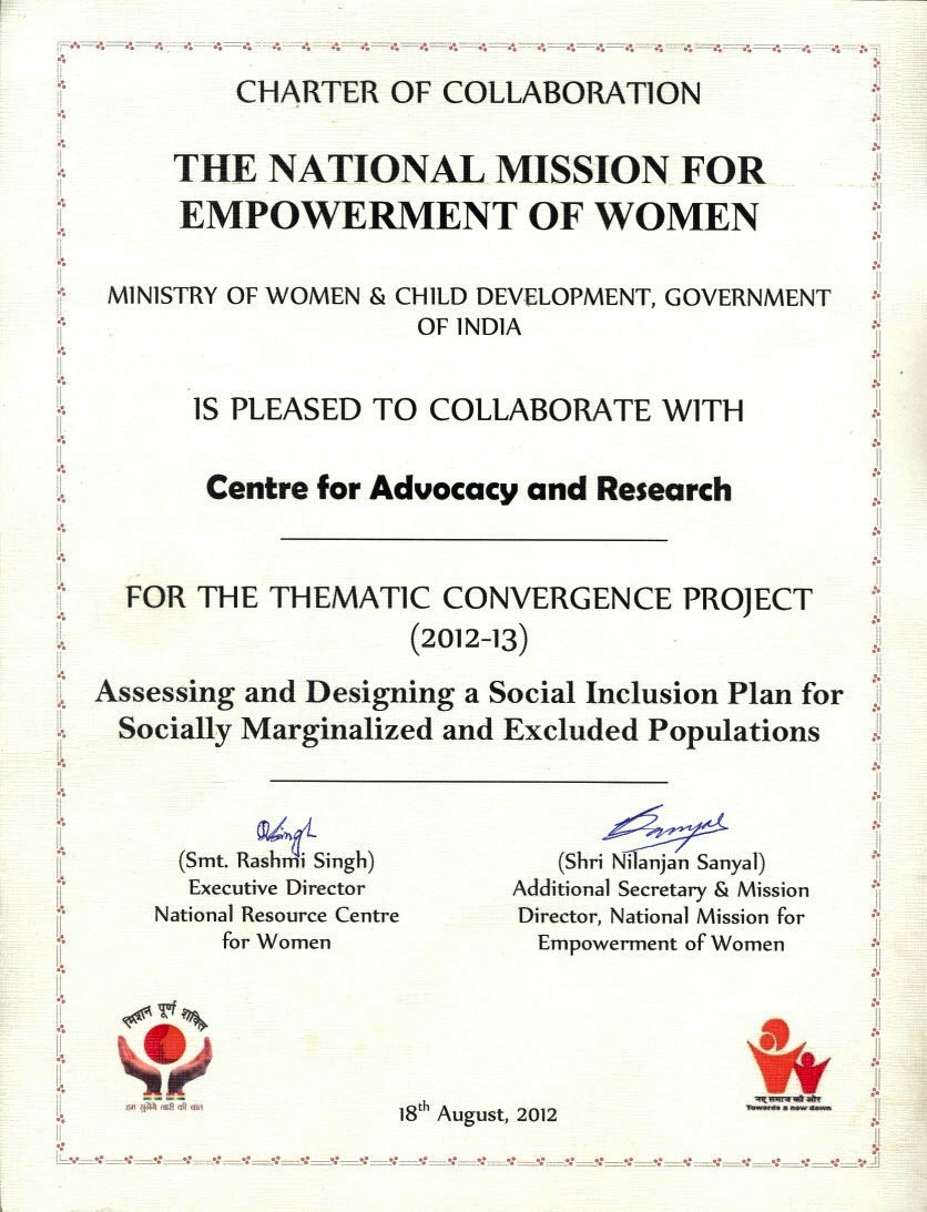 On August 18, 2012 CFAR received a Charter of Collaboration from the National Mission for Empowerment of Women (NMEW) for the Thematic Convergence Project